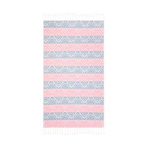 Niebiesko-różowy ręcznik kąpielowy hammam Begonville Janine, 180x100