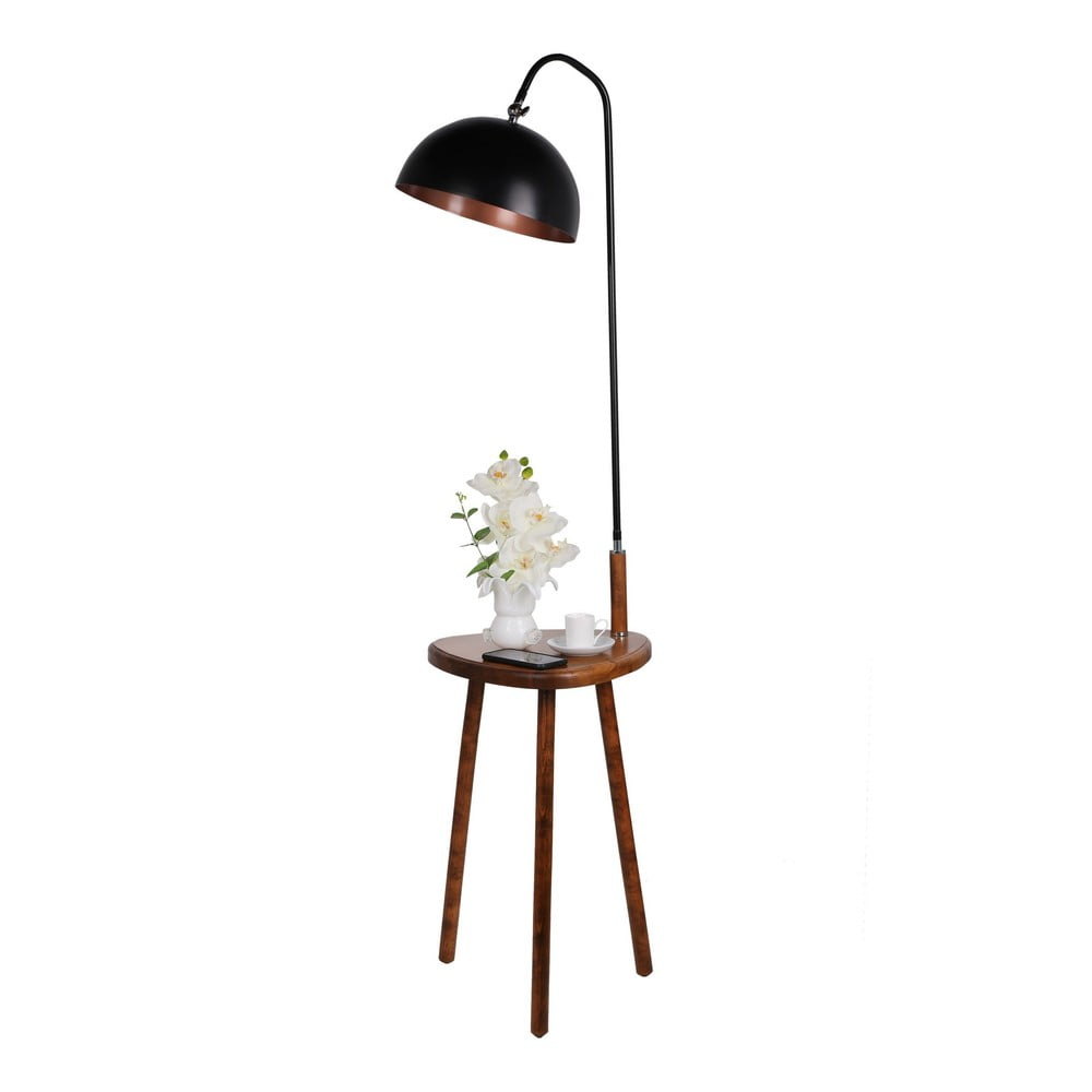 Czarna lampa stojąca ze stolikiem Opviq lights