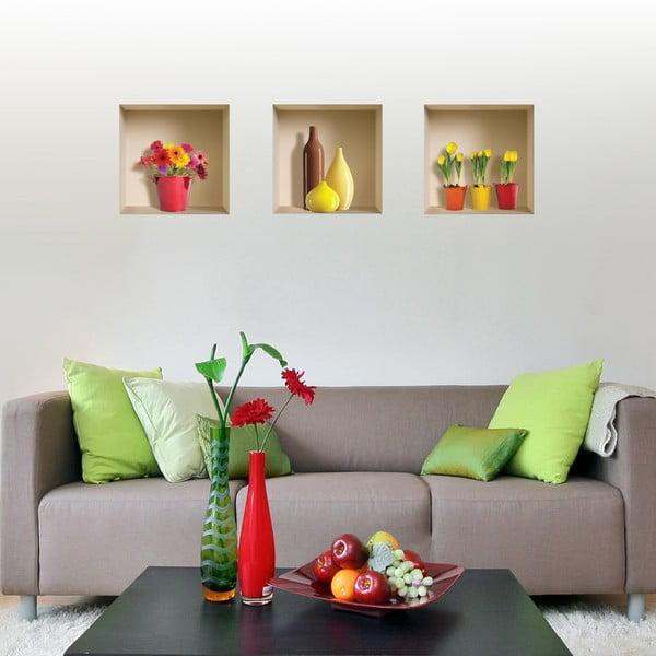 Naklejki na ścianę 3D Pots Fleuris