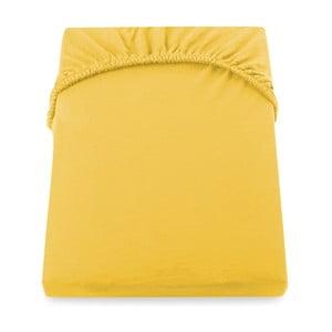 Żółte prześcieradło elastyczne DecoKing Nephrite, 220–220cm