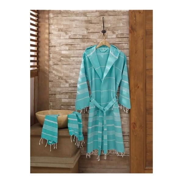 Zestaw szlafrok i ręcznik Sultan Mint, rozmiar L/XL