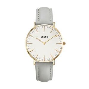 Zegarek damski z szarym skórzanym paskiem i detalami w kolorze złota Cluse La Bohéme