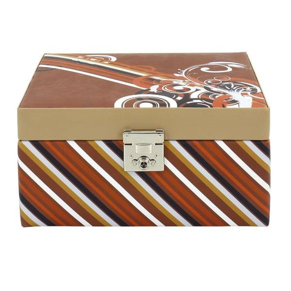 Brązowa szkatułka na biżuterię Friedrich Lederwaren Diagona, 23x23 cm