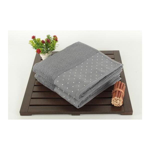 Zestaw 2 szarych ręczników bawełnianych Patricia, 50x90 cm