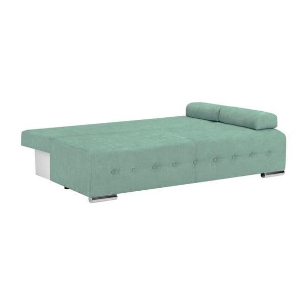 Miętowa 3-osobowa sofa rozkładana ze schowkiem Melart Suzanne