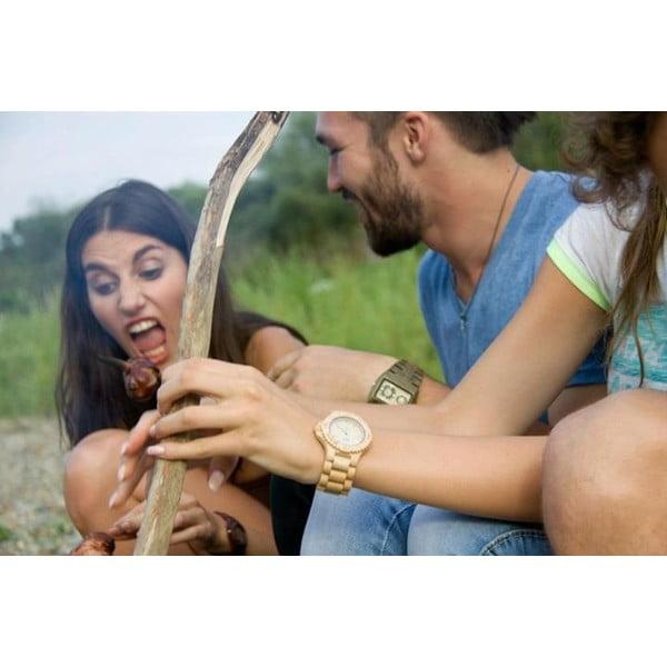 Drewniany zegarek Date Beige
