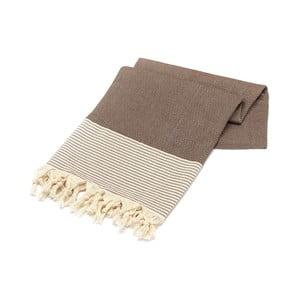 Brązowy ręcznik Hammam Bal Petergi, 100x180cm