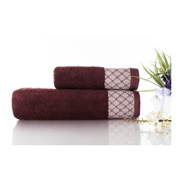 Zestaw 2 ręczników Bamboo Polo Burgundy, 50x90 cm i 70x140 cm