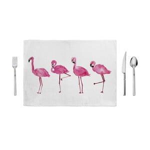 Różowo-biała mata kuchenna Home de Bleu Painted Flamingos, 35x49cm