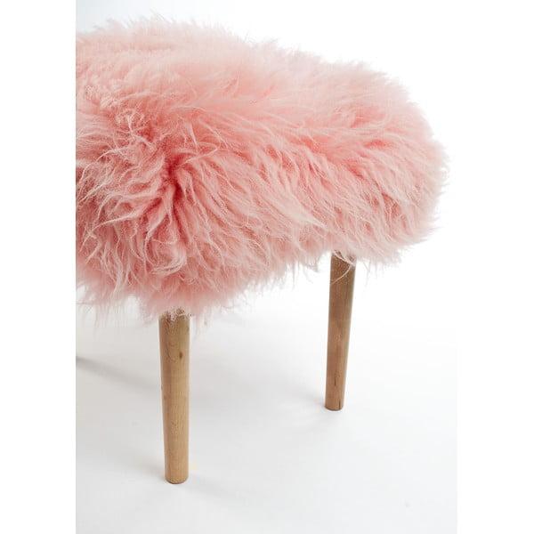 Podnóżek z owczej skóry Carys Baby Pink