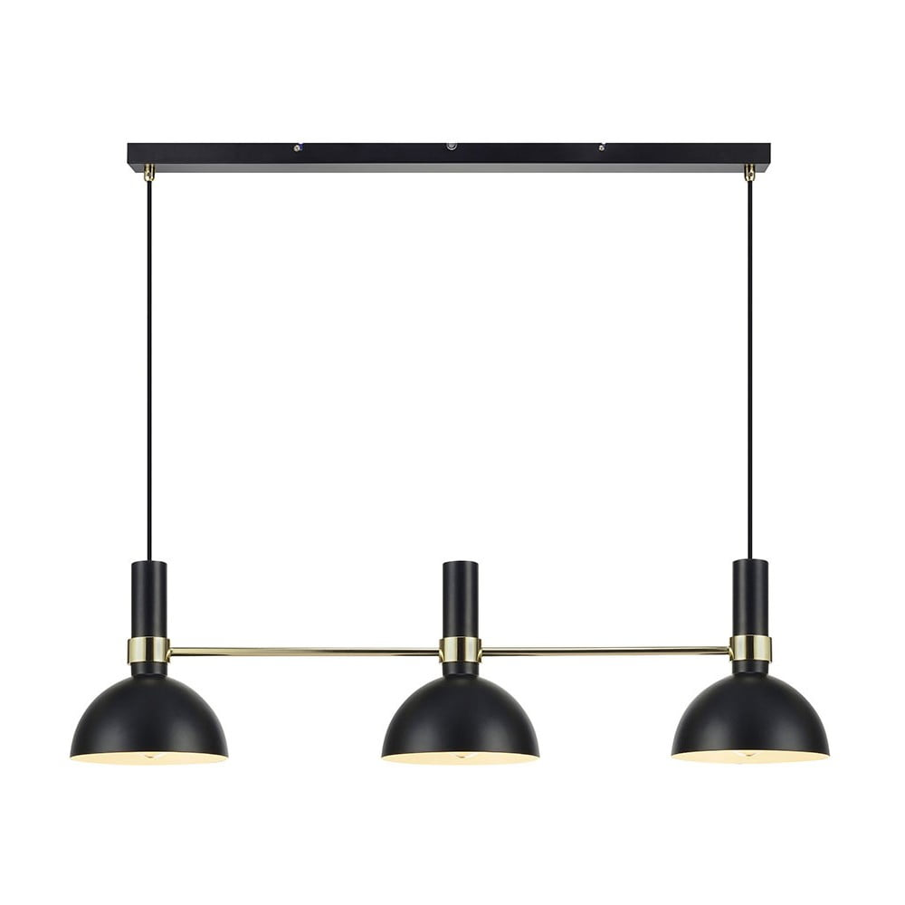 Czarna potrójna lampa wisząca Markslöjd Larry Black Gold