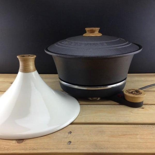 Żeliwny garnek do powolnego gotowania Netherton Foundry + tadżin, kremowy