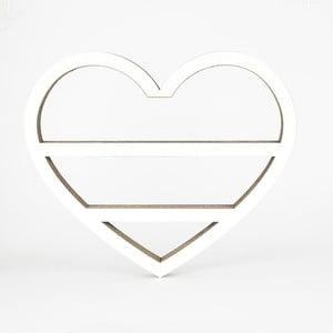 Biała półka z kartonu w kształcie serca Dekorjinal Pouff Heart, 50x41cm