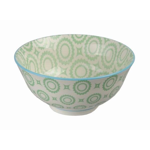 Porcelanowa miska Tayo Green Flowers, 15,5 cm