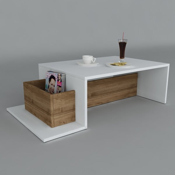 Stolik kawowy Pot White/Walnut, 60x106,8x32 cm