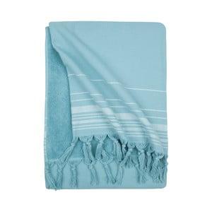 Niebieski ręcznik hammam Walra, 100x180cm
