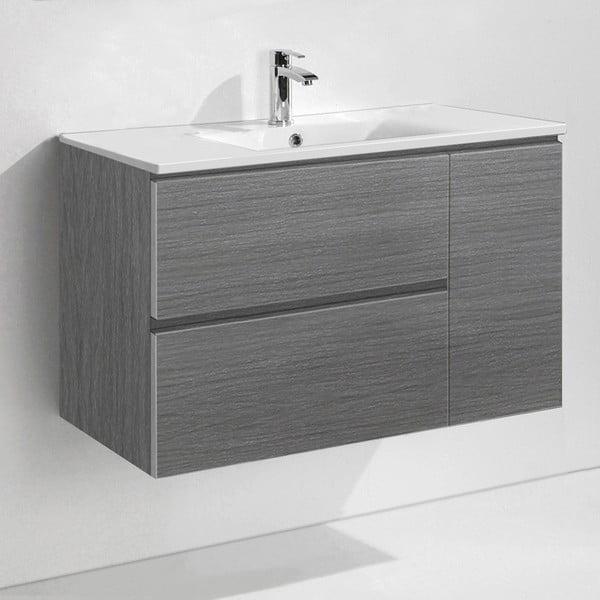 Szafka do łazienki z umywalką i lustrem Happy, odcień szarości, 80 cm