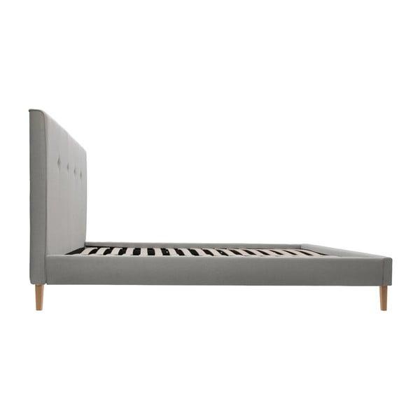 Szare łóżko z ciemnoszarymi guzikami i naturalnymi nóżkami Vivonita Kent, 180x200 cm