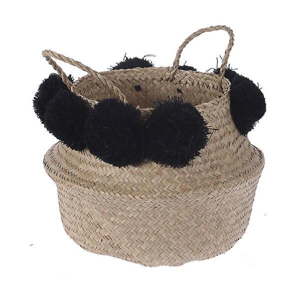 Koszyk pleciony Black Pom Pom