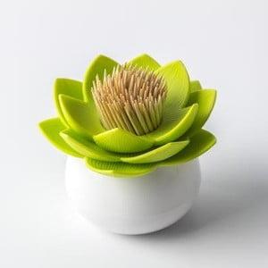 Pojemnik na wykałaczki QUALY Lotus Toothpick, biały/zielony