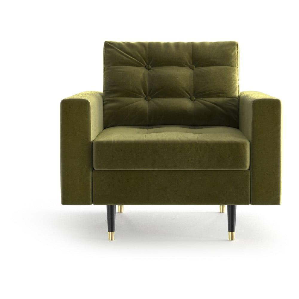 Oliwkowy aksamitny fotel Daniel Hechter Home Aldo