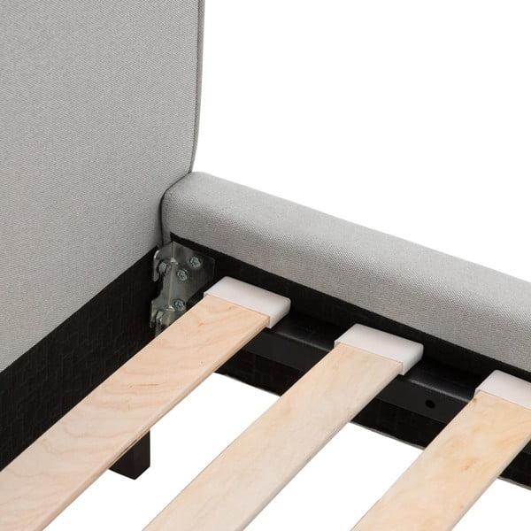 Szare łóżko z ciemnoszarymi guzikami i czarnymi nóżkami Vivonita Kent, 160x200 cm