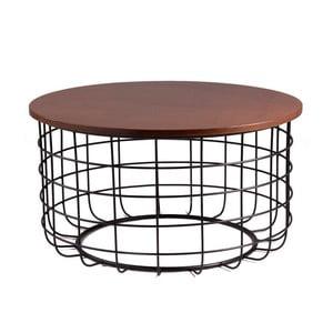 Czarny stolik z blatem w dekorze drewna orzechowego sømcasa Celso