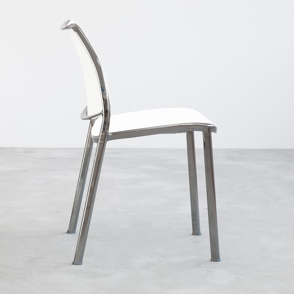 Krzesło Gas, białe, błyszczące nogi