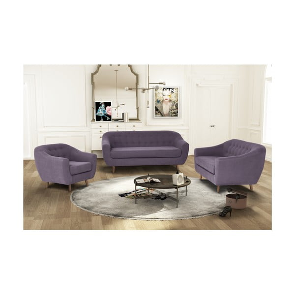 Fioletowy zestaw fotela i 2 sof dwuosobowej i trzyosobowej Jalouse Maison Vicky