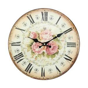 Zegar Antic Line Pink Roses, 34 cm