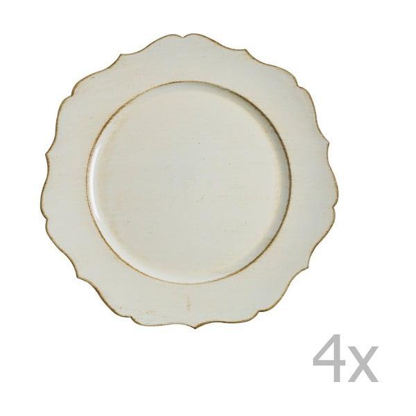 Zestaw 4 kremowych talerzy Blasone