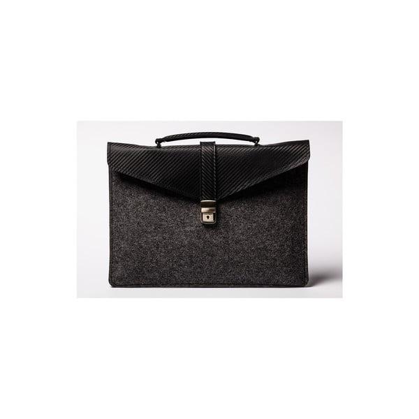 Skórzana torba na laptop Éstie, ciemnoszara