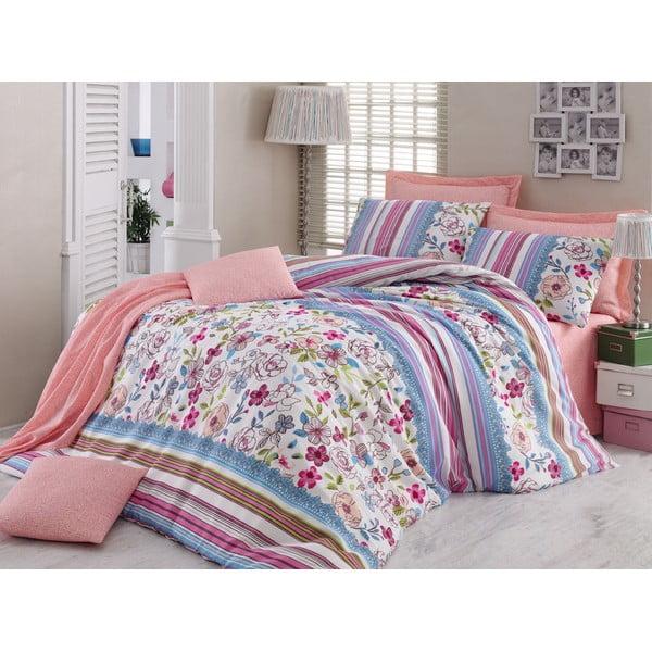 Różowa pościel na łóżko jednoosobowe z prześcieradłem  Love Colors Bloom, 160 x 220 cm
