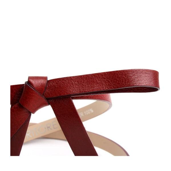 Regulowany skórzany pasek Ruby czerwony, 66-96 cm