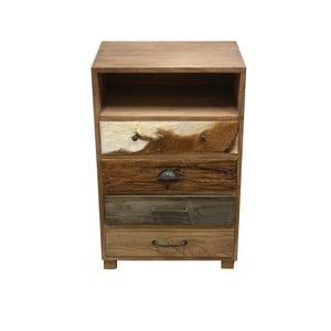 Drewniana komoda z 4 szufladami i szczegółami z koziej skóry HSM Collection Texas