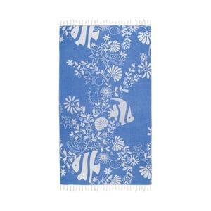 Niebieski ręcznik hammam Kate Louise Helene, 165x100 cm