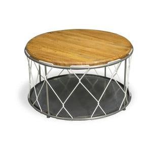 Stalowy stolik z blatem z drewna mangowego Bluebone Rope