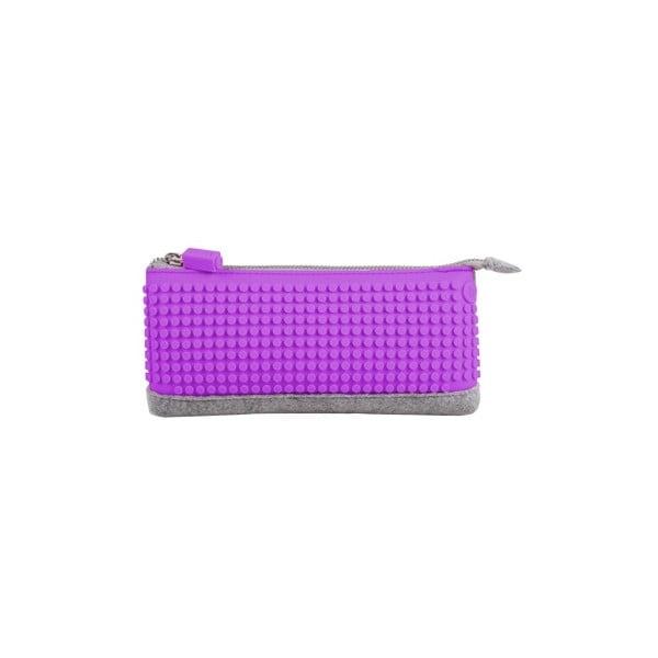 Pikselowy piórnik, szary/purpurowy