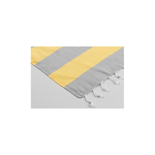 Ręcznik hamam Myra Grey Light Yellow, 100x180 cm