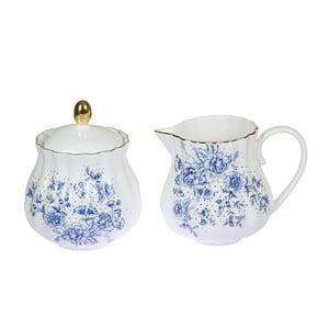 Niebiesko-biały porcelanowy mlecznik i cukierniczka Santiago Pons Bohem