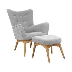Szary fotel z podnóżkiem Helga Interiors Karl