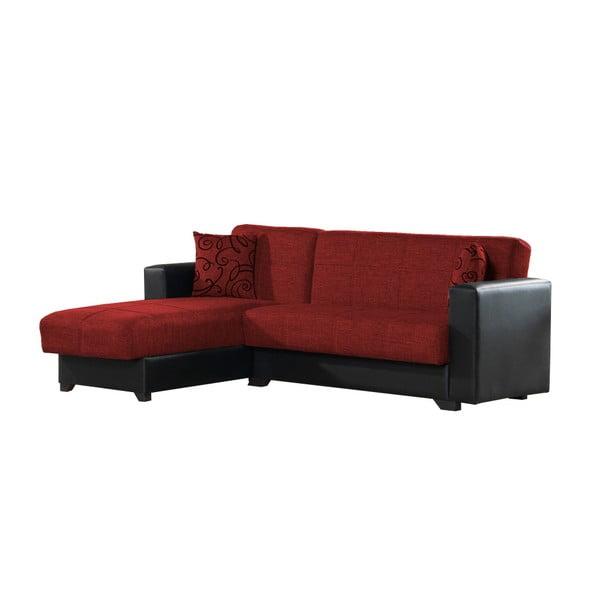 Czerwono-czarny narożnik ze schowkiem Esidra Chaise Longue
