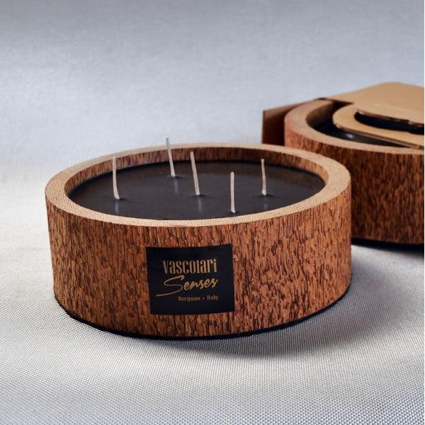 Palmowa świeczka Legno Round o zapachu lilii wodnej, 80 godz.