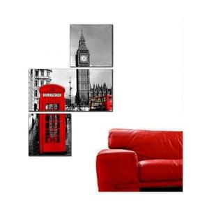 Trzyczęściowy obraz Asymetric London BigBen, 60x90 cm