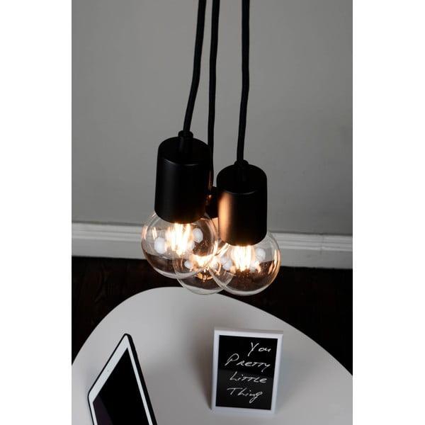 Czarna lampa wisząca z 3 kablami Bulb Attack Cero Group