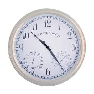 Biały zegar ogrodowy z cyframi arabskimi EsschertDesign