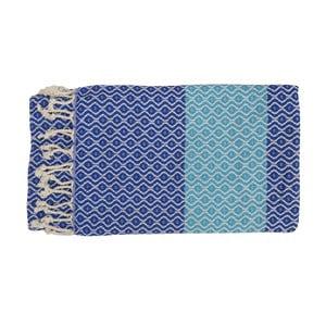 Niebieski ręcznie tkany ręcznik z bawełny premium Oasa,100x180 cm