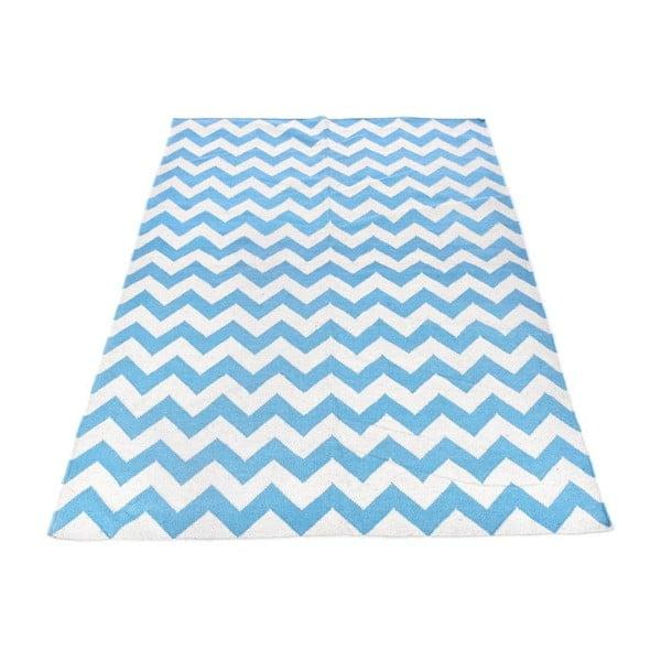 Dywan wełniany Geometry Zic Zac Blue & White, 160x230 cm