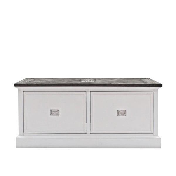 Biała ława Canett Skagen, 2 szuflady