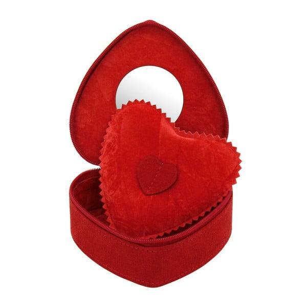 Szkatułka na biżuterię Friedrich Lederwaren Heart Red, 10,5x9,5x4,5 cm
